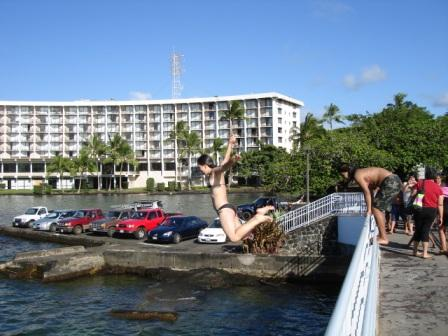 Jumping off the bridge in Hilo