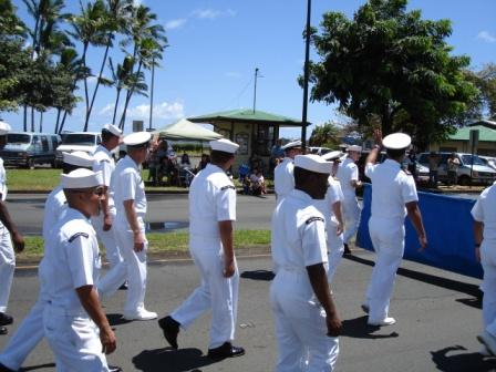 Merrie Monarch Parade Navy guys Hilo 2008