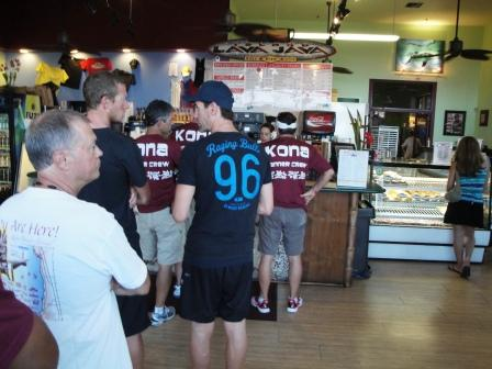 Kona ironmen waiting for coffee